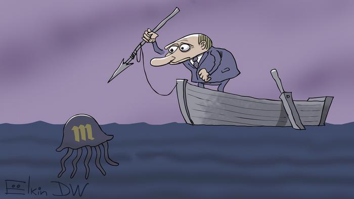 Путин стоит в лодке и бросает гарпун в медузу, на которой изображен логотип одноименного СМИ