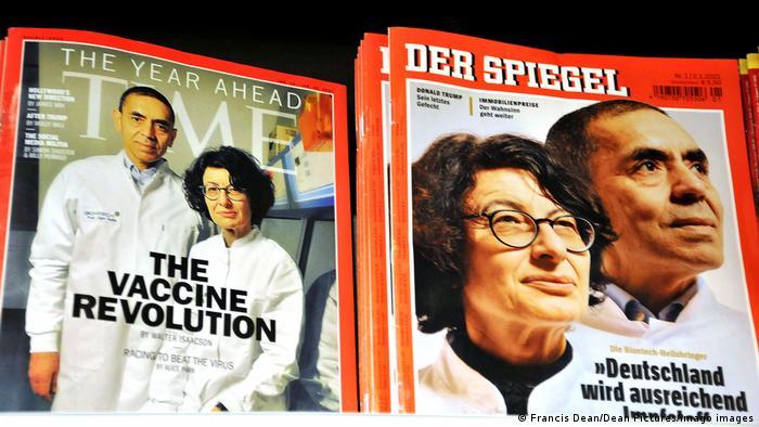 Обложки журналов Time Magazine и Spiegel с портретами создателей фирмы Biontech