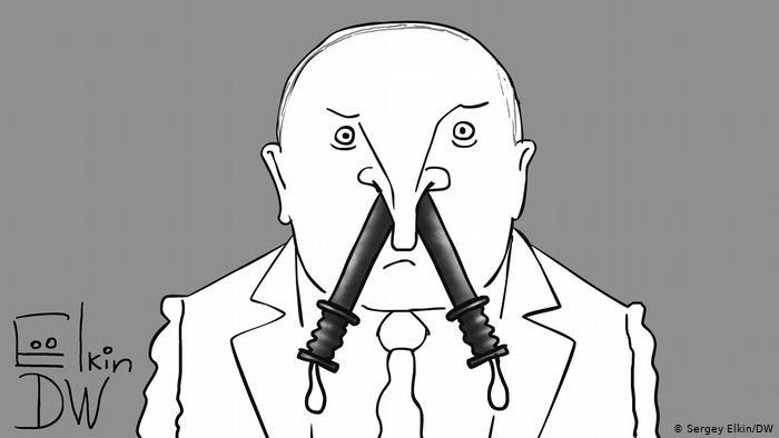 Лукашенко, из ноздрей которого свисают резиновые дубинки