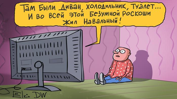 Карикатура Сергея Елкина: российская пропаганда о Навальном