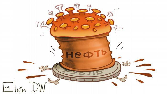Карикатура Сергея Елкина - рубль оказался под прессом из нефти и коронавируса
