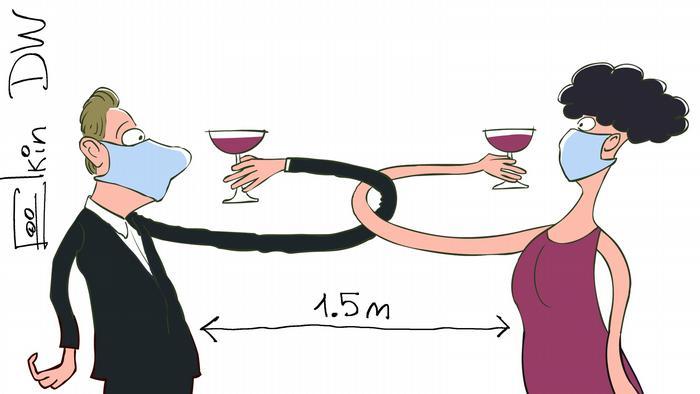 Карикатура Сергея Елкина - мужчина и женщина пьют на брудершафт, соблюдая социальную дистанцию и в защитных масках.