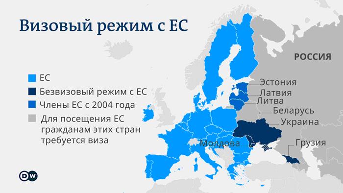 Инфографика - визовый режим с ЕС