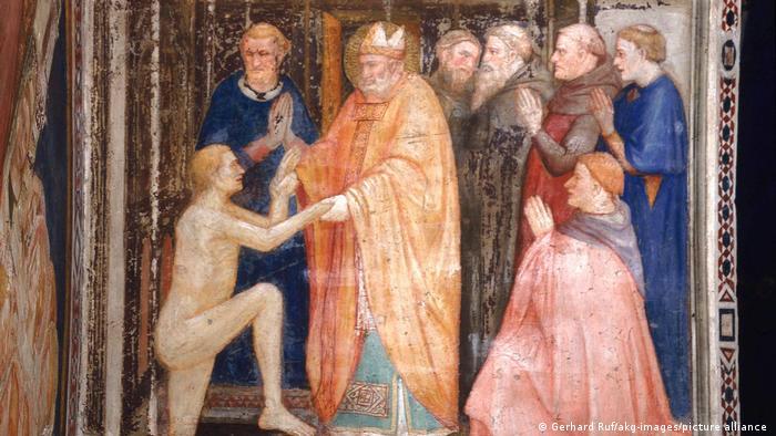 Святой Станислав оживляет мертвого. Фреска 1325/1330 в Умбрии (Италия)