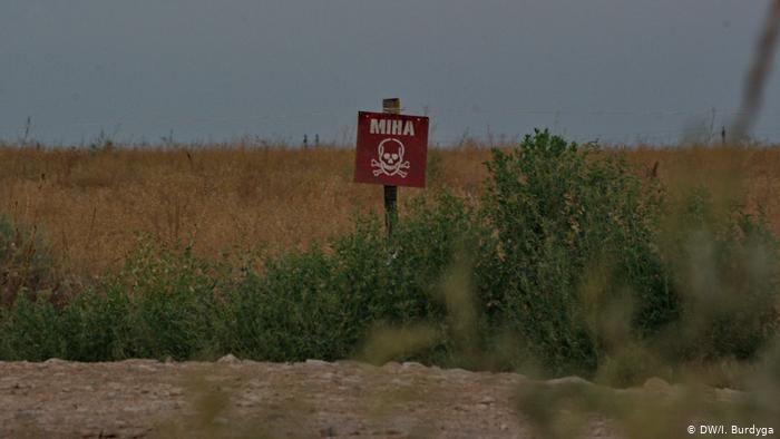 Знак, предупреждающих о наличии мин на этой территории