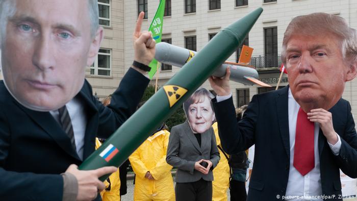 Протесты в Берлине против отказа от договора СНВ-3