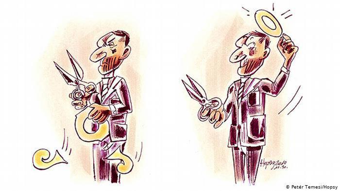 Карикатура Петера Темеши. Мужчина в костюме и с галстуком вырезал себе из буквы закона нимб.
