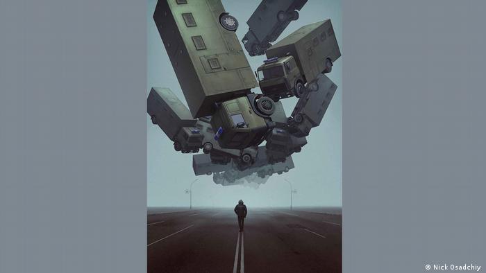 Автозаки на плакате белорусского художника Ника Осадчего